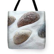 Meditation Stones On White Sand Tote Bag