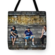 3 Men Watching Tote Bag