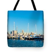 Miami Florida City Skyline Morning With Blue Sky Tote Bag