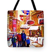 Montreal Street In Winter Tote Bag