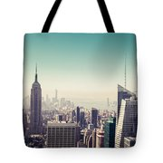 New York Manhattan Skyline At Sunset Tote Bag