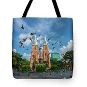 Notre-dame Cathedral Basilica Of Saigon, Officially Cathedral Basilica Of Our Lady Of The Immaculate Tote Bag