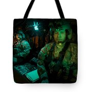 Pilots Sitting In The Cockpit Tote Bag