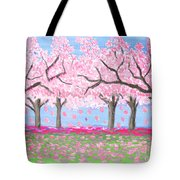 Pink Garden, Oil Painting Tote Bag