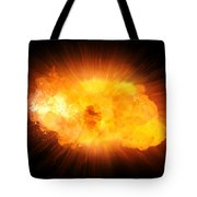Realistic Fire Explosion, Orange Blast With Sparks Isolated On Black Background Tote Bag