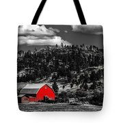 Red Barn In Wyoming Tote Bag