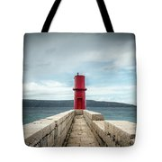 Red Lighthouse Of Cres On A Cloudy Day In Spring Tote Bag
