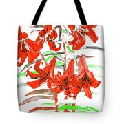 Red Lilies, Hand Drawn Painting Tote Bag