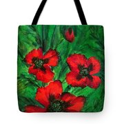 3 Red Poppies Tote Bag