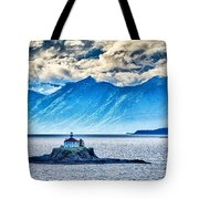 Remote Lighthouse Island Standing In The Middle Of Mud Bay Alask Tote Bag
