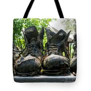 Row Of Old Leather Worn Out Shoes  Tote Bag