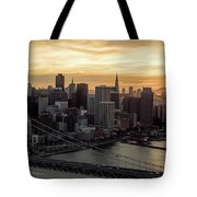 San Francisco City Skyline At Sunset Aerial Tote Bag