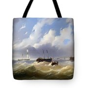 Ships On A Stormy Sea Tote Bag