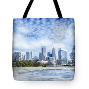 Snow And Ice Covered City And Streets Of Charlotte Nc Usa Tote Bag