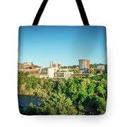 Spokane Washington City Skyline And Streets Tote Bag