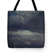 Stormclouds Over The Castle Tower In Dresden  Tote Bag
