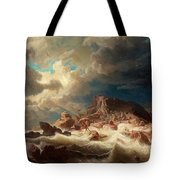 Stormy Sea With Ship Wreck Tote Bag