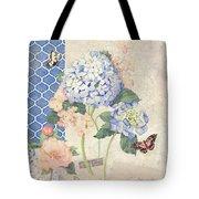 Summer Memories - Blue Hydrangea N Butterflies Tote Bag