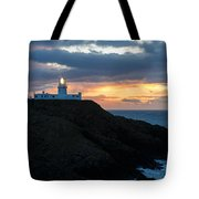 Sunset At Strumble Head Lighthouse Tote Bag