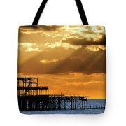 The West Pier In Brighton At Sunset Tote Bag