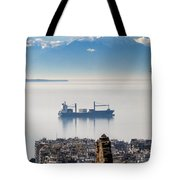 Thessaloniki With View Of Olympus Tote Bag