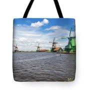 Traditional Dutch Windmills At Zaanse Schans, Amsterdam Tote Bag