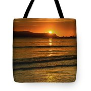 Vibrant Orange Sunrise Seascape Tote Bag
