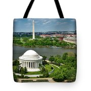 View Of The Jefferson Memorial And Washington Monument Tote Bag