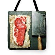 Vintage Cleaver And Raw Beef Steak Tote Bag