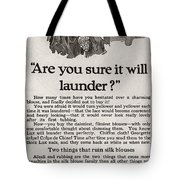 Sure It Will Launder Vintage Soap Ad  Tote Bag