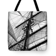 Vintage Style Picture Of Beautiful Sail Boat Details. Rope, Hull Tote Bag