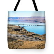 Wanapum Lake Colombia River Wild Horses Monument And Canyons Tote Bag
