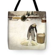 Washing On The Ice Tote Bag