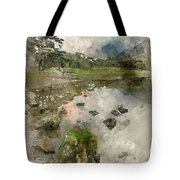 Watercolor Painting Of Beautiful Autumn Fall Landscape Image Of  Tote Bag