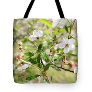 White Cherry Flower Tote Bag