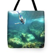Woman Free Diving Tote Bag