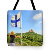 Woman Tourist In Sintra Tote Bag