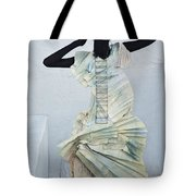 Woman With Black Boby Paint In Paper Dress Tote Bag