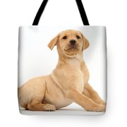 Yellow Labrador Retriever Puppy Tote Bag
