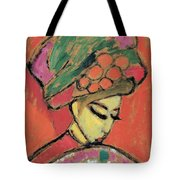 Young Girl With A Flowered Hat Tote Bag