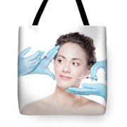 Young Woman Having Botox Face Injections. Tote Bag