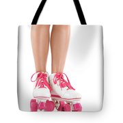 Young Woman Wearing Roller Derby Skates Tote Bag
