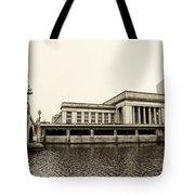 30th Street Station From The River Walk In Sepia Tote Bag