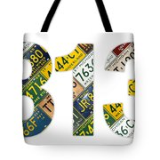 313 Area Code Detroit Michigan Recycled Vintage License Plate Art On White Background Tote Bag
