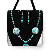 3508 Crazy Lace Agate Necklace And Earrings Tote Bag