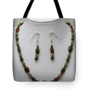 3525 Unakite Necklace And Earring Set Tote Bag
