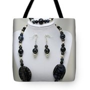 3548 Cracked Agate Necklace Bracelet And Earrings Set Tote Bag