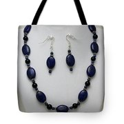 3555 Lapis Lazuli Necklace And Earring Set Tote Bag