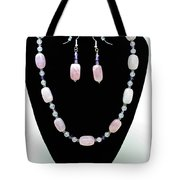 3560 Rose Quartz Necklace And Earrings Set Tote Bag