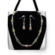 3565 Unakite Necklace And Earrings Set Tote Bag